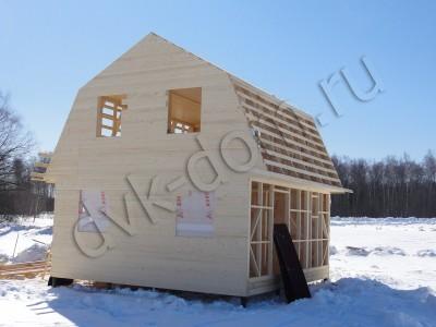 Обшивка имитацие бруса каркасного дома